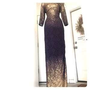 Beautiful purple and gold glitter long gown